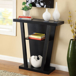 None - Black Finish Console Sofa Entry Table - This black entry table features a contemporary three-tiered design made almost entirely of hardwood for optimum durability. This entry table has three open shelves that can store lightweight items such as decorative sculptures and small books.