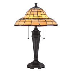 Quoizel - Quoizel Imperial Bronze Lamps - SKU: TF1803TIB - Paved in rich hues of yellow with a string of amber jewels surrounding the shade, Howell is definitely a classic Tiffany. The simple design of the shade is emphasized by the Imperial Bronze finish on the base.