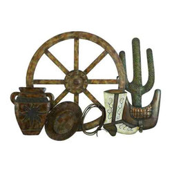 UMA - Cowboy's Wagon Wheel Metal Wall Art - A wagon wheel, boot, saddle, cactus, lasso, and Western pottery are depicted in this metal wall art display of Old West or Southwest iconic images