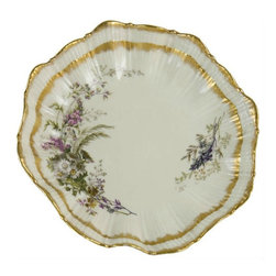 M.Redon Limoges on base - Consigned Serving Salad Bowl French Limoges with Molded & Painted Decor - French Limoges porcelain bowl, molded with a floral petals graduated border, painted with bouquets of wild flowers and gilded.