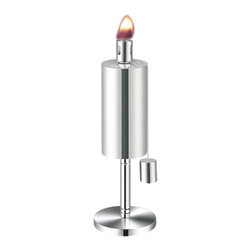 Anywhere Fireplace - Tabletop Stainless Steel Garden Torch, Cylinder - Add some style and uniqueness to your BBQs and outdoor seating areas while repelling those annoying and biting mosquitoes and insects with the Anywhere Table Top Garden Torch. These modern design torches come in 2 styles, cylinder and cone shape, and have matching 65″ tall stake versions as well. One or more can be placed on any flat surface to radiate glorious light and repel insects to insure your outdoor time is most enjoyable. Both models have clean sophisticated lines in a stainless steel finish that will enhance any outdoor atmosphere whether it's a barbecue, outdoor games, or any evening gathering around the patio, deck, yard or pool. The Anywhere Garden Torches™ use citronella or lamp fuel and comes with a snuffer cap for safe and easy extinguishing. A funnel is recommended for use when filling the fuel. Wipe any spills or drips off stainless steel before lighting. Never try to refill torch while burning or top is still hot.