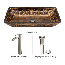 Vigo - Rectangular Brown and Gold Fusion Glass Vessel Sink and Otis Faucet Set - The VIGO Rectangular Brown and Gold Fusion glass vessel sink with Otis Brushed Nickel faucet set will bring stylish design to any bathroom.