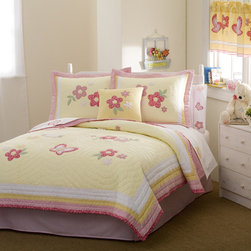 None - Golden Trail Cotton 3-piece Quilt Set - Add sweet,delicate color to your little girl's room with this handcrafted patchwork quilt mini set. Featuring blooming pink flowers on a pale yellow quilted cotton background,this softly textured bedding is pre-washed.