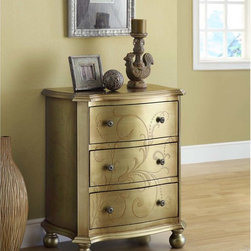 Monarch - Bombay Gold Transitional 3-drawer Chest - This traditional and elegant cream and gold Bombay three-drawer chest is decorated with painted vine-like gold flourishes. The three drawers pull out with antique silver pulls while ball feet add a traditional touch. It stands at 29 inches.