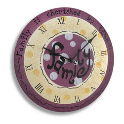 Zeckos - Whimsical Wood Family Wall Clock - Add a touch of whimsy to your walls while showing your family how much they are cherished with this fun clock that will dress up the walls of any kitchen, dining room or family room Made of wood and measuring 11 3/4 inches in diameter and 1 1/2 inches deep, this round clock features the word 'family' in the center and 'family is cherished by time' around the outer edge. Painted purple and light yellow along with a spattering of white polka dots, this decorative wall clock boasts roman numerals and metal hands, and runs on a single AA battery(not included), and easily hangs on the wall using a single nail or screw via the keyhole hanger on the back. This clock would make a wonderful piece to brighten up your space with and a very thoughtful gift for a friend or family