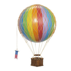 Authentic Models - Authentic Models AP168E Jules Verne Balloon - Rainbow - Iconic and inspiring helium filled balloons were one of aviation's first successes. Since 1783, balloons have traveled the skies. Our largest model to date comes complete with a rattan basket hanging from hand-knotted netting and wood toggles. The large balloon carries sand bags at the ready for release as ballast.