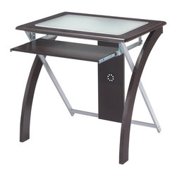 Office Star - Office Star 32x24 Computer Desk With Frosted Glass in Espresso - OSP Designs Computer Desk with Frosted Glass What's included: Desk (1).