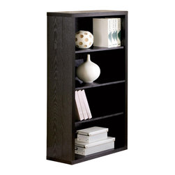 Adarn Inc. - Black 4 Shelves Stack Books Storage Display Peel Bookshelf Bookcase - This bookcase with four shelves completes the look of your home office and is available in a dark black  finish that pairs perfectly with the matching computer desk, computer stand and mobile file cabinet. Stack books and decorative accents on the four open shelves for an eye catching display, or make use of the additional storage space for more practical purposes when you top it with three ring binders and files. Your choice of brown or black finishes lets you customize the appearance of this four shelf bookcase to suit your space. Accessories not included.