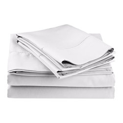 Cotton Rich 600 Thread Count Hem Stitch Sheet Sets - California King - White - Surround yourself in the classic elegance of Impressions Hem Stitch sheet set. This design features hem stitching which is a classic method used to put two pieces of fabric together using a an insertion stitch to give off the appearance of lace. Set includes One Flat Sheet 108x102, One Fitted Sheet 72x84, and Two Pillowcases 20x40 each.