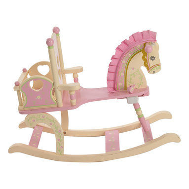 """Levels of Discovery - Kiddie-Ups Rock-A-My-Baby Rocking Horse - Soft pastel colors Classic stencil design on top of seat back with heart-shaped cut-outs Pull the heart on seat to hear """"Rock A Bye Baby"""" Cradle includes soft, pink corduroy pad Interior cradle dimensions: 10"""" L x 7"""" W x 7"""" HCorduroy mane and ears. Attached cradle w/ pad. Plays Rock A Bye Baby. Understamp beneath the seat for personalization. All seats have a """"personalizable"""" understamp"""