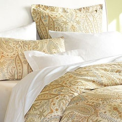 Blythe Paisley Organic Sateen Sham, Euro - The paisley pattern has existed since the 11th century, with many countries and cultures creating their own interpretations. This organic cotton bedding evokes late-17th-century European paisleys with its delicate botanical forms and muted palette of ivory, sage, honey and blue.  Pure organic cotton sateen.  350-thread count.  Duvet cover has a hidden button closure and interior ties to keep the duvet in place.  Sham has an envelope closure; insert sold separately.  Catalog / Internet only.  Imported.