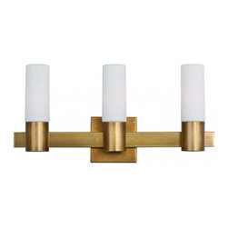 Joshua Marshal - Three Light Natural Aged Brass Vanity - Three Light Natural Aged Brass Vanity