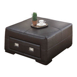 Monarch Specialties - Monarch Specialties 8491CB Storage Ottoman in Chocolate Brown Leather - This wonderful contemporary storage ottoman will be a great addition to your living room or family room. The piece has a simple but sophisticated style, with an oversized square top cushion with accent stitching, which offers a comfortable place to rest your feet, or an extra seat. It features a drawer to reveal a spacious enclosed storage area, perfect for stowing magazines and remote controls. Sleek square wooden feet and chocolate brown bonded leather complete the piece.