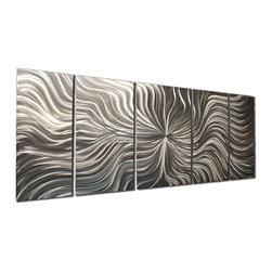 "Metal Art Studio - Flexure Modern Metal Abstract Wall Art - Size: 48""X20"""