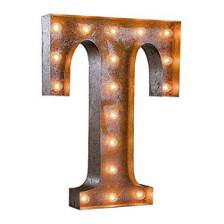 "Used 24"" Vintage Marquee Light - Letter T - Great for weddings, restaurants, bars, events, home decor, or even photo/set props. These Vintage Marquee Lights are what the ""Pickers"" dream of finding! The are carefully crafted from rusty metal to make them look authentic and antique.  Artificial wear and tear is created on each letter and wear will differ from sign to sign. Color will also vary due to naturally occurring rust.     Due to the rust, inside packaging can become dusty during transit. Open with care. Once open, shake dust off. There is a 24"" tall, 4"" deep (arrow 36"" tall) hanging bracket on back for easy wall installation. New UL Approved wiring, plugs, sockets and C9 bulbs included. 5 spare bulbs per sign also included incase of breakage during shipping. Plug into standard outlet. Indoor/outdoor use."