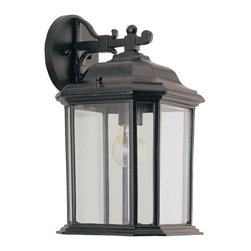 Seagull - Seagull Kent Outdoor Wall Mount Light Fixture in Black - Shown in picture: 84031-12 Single-Light Kent Outdoor Wall Lantern in Black finish