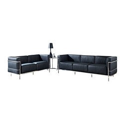 """LexMod - Charles Grande 3 Piece Sofa Set in Black - Charles Grande 3 Piece Sofa Set in Black - Urban life has always a quandary for designers. While the torrent of external stimuli surrounds, the designer is vested with the task of introducing calm to the scene. From out of the surging wave of progress, the most talented can fashion a forcefield of tranquility. Perhaps the most telling aspect of the Charles series is how it painted the future world of progress. The coming technological era, like the externalized tubular steel frame, was intended to support and assist human endeavor. While the aesthetic rationalism of the padded leather seats foretold a period that would try to make sense of this growth. The result is an iconic sofa series that became the first to develop a new plan for modern living. If previous generations were interested in leaving the countryside for the cities, today it is very much the opposite. If given the choice, the younger generations would rather live freely while firmly seated in the clamorous heart of urbanism. The Charles series is the preferred choice for reception areas, living rooms, hotels, resorts, restaurants and other lounge spaces. Set Includes: One - Eileen Gray Side Table One - Le Corbusier LC3 Loveseat One - Le Corbusier LC3 Sofa Loveseat and Sofa: Leather Upholstery, Stainless Steel Frame, Multi-Density Foam, Table: Chrome Frame, Tempered Glass, Adjustable Height Overall Product Dimensions: 82.5""""L x 85""""W x 28.5""""H Overall Loveseat Dimensions: 59""""L x 26""""W x 27.5""""H Loveseat Seat Dimensions: 20.5""""L x 17""""H Overall Sofa Dimensions: 82.5""""L x 2""""W x 27.5""""H Overall Table Dimensions: 24""""L x 21.5""""W x 21.5""""H Sofa Seat Dimensions: 20.5""""L x 17""""H Table Top Height: 21.5 - 28.5""""H - Mid Century Modern Furniture."""