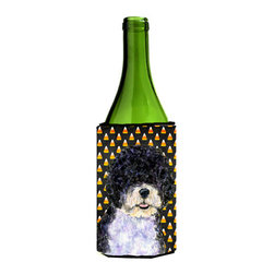 Caroline's Treasures - Portuguese Water Dog Candy Corn Halloween Portrait Wine Bottle Koozie Hugger - Portuguese Water Dog Candy Corn Halloween Portrait Wine Bottle Koozie Hugger Fits 750 ml. wine or other beverage bottles. Fits 24 oz. cans or pint bottles. Great collapsible koozie for large cans of beer, Energy Drinks or large Iced Tea beverages. Great to keep track of your beverage and add a bit of flair to a gathering. Wash the hugger in your washing machine. Design will not come off.