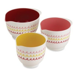 Cake Boss - Cake Boss 3-Piece Mixing Bowl Set - These vibrant mixing bowls from Cake Boss are a stylish and fun way to mix ingredients. Made from sturdy melamine, these bowls are durable and have rubberized bases that help keep them stable on the table or countertop while mixing.
