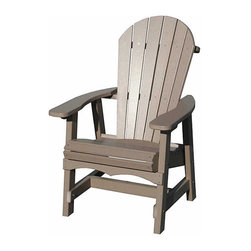 """Outdoor Furniture - Nothing symbolizes summer relaxation like our classic Comfort Craft maintenance-free Adirondack Deck Chair. Wide armrests, contoured seats and a 6-slatted back make this chair the most comfortable we've found. Built in the USA from solid, durable, high density, recycled HDPE plastic for the look and feel of real wood. Virtually maintenance free. Extremely easy to clean with soap and water.  Works well with our 28"""" Side Table, 39"""" Conversation Table and 50"""" Dining Table."""