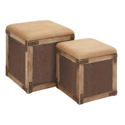 Benzara - Stool with Extra Storage Space in Chocolate Brown - Set of 2 - Chic-looking and decorative, this elegant wood stool adds an earthy feel to your contemporary home. It is not only stylish in looks but also serves more than one purpose. It acts as a super comfortable stool and offers a huge storage space inside. These chocolate brown stools with a cream top are easily movable allowing you to keep it wherever required. Place this set of two wood stools in the corner of your room and add to the style of your decor. It is cushioned at the top to make your seating experience wonderful and you can lift it up to open the storage space inside, in order to keep your clothes and other utility items handy. Made of high quality wood, it is sturdy and long lasting in use. This stool will blend in with the indoor as well as outdoor settings.