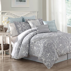None - Luxe Lavender 9-piece Comforter Set - Showcasing a grey paisley pattern with blue color accents,this comforter will complement the bedroom with class and style. The nine-piece set includes a comforter,bedskirt,two euro shams,two pillow shams and three decorative pillows.