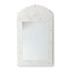 Serena & Lily - Maya Inlay Mirror  White - This inlay mirror is ornate but totally neutral, a hard combination to achieve. How perfect would it be hanging in an entryway? It will give guests a chance to primp before their visit.