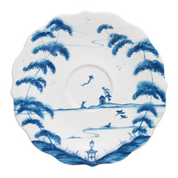 Country Estate Delft Blue Saucer - Garden follies, a flock of birds, and a few small figures flying kites are framed by the naturalistic curves of trees in the Country Estate Saucer's romantic scene. Painted in white and Delft Blue, this dreamy saucer adapts the tradition of blue and white china to a fresh, slightly playful look at the dining table. Scalloped edges give an approachable prettiness to your dishes' arrangement.
