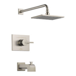 Delta Monitor(R) 14 Series Tub and Shower Trim - T14453-SS - Inspired by slim lines and graceful arc of a ribbon, the Vero bath collection offers a high-end, modern look to the bath.