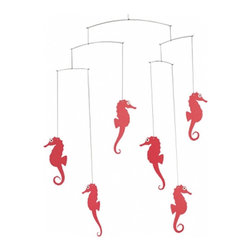 Flensted Mobiles - Seahorse Mobile, Red - Three seahorse couples in perpetual motion, engrossed in all that takes place around them. Did you know, by the way, that in the seahorse world it is the male who becomes pregnant?