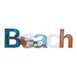 Benzara - Beach Sign Designed in Marine Theme Enhancing Wall Decor - This attractive beach sign is sure to enliven the mood and enhance your room decor. Made of high quality wood, this gorgeous beach sign is designed to endure damage and add to the graceful charm of your home decor. The piece is designed with a marine theme that consists of a net stringed around the beach letters. On this cute net, there is depiction of clinging marine life in the form of an orange crab and a clam that look realistic and visually appealing. The letters are colored in multiple shades and lend a bright and peppy appeal to your living space. The signboard comes with the provision to be hung conveniently on the wall. The stylish beach signboard is maintenance-free and easy to clean. Suitable to be hung anywhere, this piece can be easily dusted and cleaned. Adding value to every inch of space it occupies, this beach sign is a worthy possession to decorate your wall space.