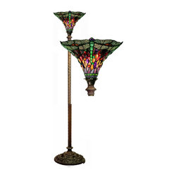 Warehouse of Tiffany - Tiffany-style Dragonfly Red & Purple Torchiere Lamp - This handcrafted Tiffany-style lamp features an iron and zinc base topped with 230 pieces of stained glass. Enhance the decor of your home with this bronze-finished torchiere lamp.