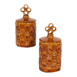 Howard Elliott - Mocha Brown Textured Ceramic Jars with Lids - Set of 2 - Mocha Brown Textured Ceramic Jars with Lids - set of 2. Mocha Brown. 6 in. x 6 in. x 11 in. H / 6 in. x 6 in. x 12 in. H