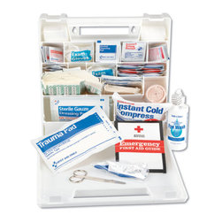 IMPACT - C-KIT, FIRST AID,50 PERSPLASTIC, INDUSTRIAL - Provides first aid supplies for up to 50 people. Kit includes adhesive bandages, elbow and knee bandages, fabric bandages, latex-free elastic bandage, triangular sling with two pins, conforming gauze roll bandages, trauma and gauze dressing pads, sterile eye packs and eye wash, first aid/burn cream packs, instant cold compress, aspirin tablets, first aid tape roll, plastic tweezers, 41/2-in. scissors, two pairs of vinyl exam gloves and a first aid guide. Plastic carrying case: 101/2w x 3d x 11h.. . . . . . . . 50-Person First Aid Kit. Dimensions: Height: 1, Length: 0.25, Width: 1. Country of Origin: US   CAT: Safety Safety Supply First Aid Products