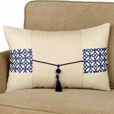 Asian Decorative Pillows Jute Lumbar Pillow with Tassel