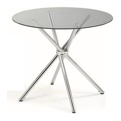 New Spec - Round Dining Table, Metal & Glass - Color/Finish: Clear/Silver. Material: Tempered 8 mm Glass/Metal. 36 in. D x 30 in. H