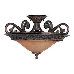 Joshua Marshal - Three Light Oil Rubbed Bronze Screen Amber Glass Bowl Semi-Flush Mount - Three Light Oil Rubbed Bronze Screen Amber Glass Bowl Semi-Flush Mount