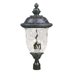 Carriage House VX-Outdoor Pole/Post Mount - Maxim Lighting's Carriage House VX Collection is made with Vivex, a material twice the strength of resin, is non-corrosive, UV resistant and backed with a 3-Year Limited Warranty. Carriage House VX features our Oriental Bronze finish and Water Glass.