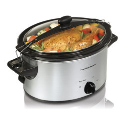 Hamilton Beach - Slow Cooker 4 Qt. - This Stay or Go Slow Cooker from Hamilton Beach has a clip-tight sealed lid that locks onto the slow cooker to help prevent messy spills and full-grip handles to make carrying easier. Lets you bring four qts. of hot food to potlucks or parties anytime. Perfect size for a 4 lb. chicken or 2 lb. roast. Three settings: low, high and keep warm. Dishwasher safe stoneware and lid.