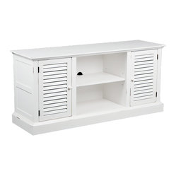 "Holly & Martin - Savannah Media Stand, Antique White - Charming and quaint, this antique white louvered media stand is a perfect blend of traditional and contemporary. The charm is further enhanced with slight rub through on the antique white paint finish to add character. The large center storage and concealed side storage areas are each enhanced with an adjustable shelf for versatility. In addition, the center space is complete with a centered hole for cord management in the back. Capable of holding up to a 50"" flat panel TV, media player, receiver and gaming console, this unit is ideal for all modern amenities."