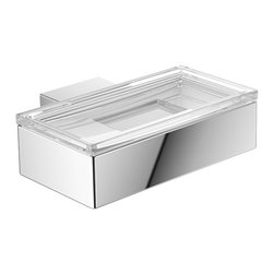 "WS Bath Collections - Vara 4230.001.00 Wall Mount Soap Dish - Vara 4230.001.00, 4.9"" x 3.0"" x 1.4"", Soap Dish in Clear Crystal Glass/ Polished Chrome"
