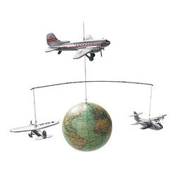 "Around the World Mobile - The around the world globe mobile measures 26""W x 15.75""H. This item features three wooden planes; the lockheed winnie mae, pan am china clipper  and douglas dc3. They all gracefully glide around our 1920's globe. All hand applied, easy assembly."