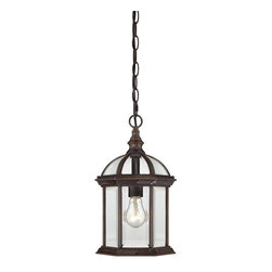 "Nuvo - One Light - Outdoor Hanging Pendant - Rustic Bronze Finish with Clear Beveled Gl - Shade: Clear Beveled Glass.  UL certified: Wet Location.  Bulb Information: 1 x 100w-Medium A19 Incandescent (Bulb is not included).  Chain: 48"". . Color/Finish: Rustic Bronze. 8 in. W x 14 in. H (3 lbs)The Boxwood collection's open design and clear beveled glass gives the feeling of delicacy as well as an understated air of gracefulness.  This collection is offered in white, rustic bronze, and textured black and features a wide breadth of application solutions.  This stately collection's effortless and elegant design is sure to deliver a great first impression of your home."