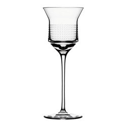 "Bomma - 8 oz Dots Collection Crystal Red Wine Glass - Set of 2 - Set of 2 - The Dots 8.0 oz. red wine glass lets you simultaneously appreciate fine design and fine wine. The Dots collection was created as a drinking set with a technologically simple and logical space for decorating. In the middle of the drinking vessel, designer Olgoj Chorchoj placed a cylindrical body to serve as the ideal gallery for ornamental decor. Combined with Bomma's motto of ""technology through an ornament"", Chorchoj applied a number of elementary dot and dash machine interventions."