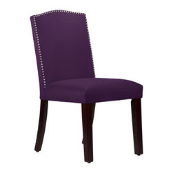 None - Made to Order Purpole Nail Button Arched Dining Chair - This elegantly arched dining chair features a meticulous individual nail button detail.  Upholstered in luxurious purple velvet fabric and delicately handcrafted in plush foam padding,this chair takes the spotlight in your dining room decor.