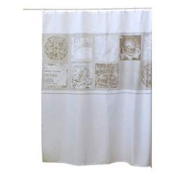 Printed Polyester Shower Curtain Romance Champagne/White Background - This printed shower curtain Romance for bathrooms is in polyester with a tissue effect. It is opaque with rosette patterns and is equipped with 12 strengthened eyelets for hanging (12 shower rings needed, sold separately). It will fit perfectly in your shower or bathtub. Prior to hanging, immerse curtain in a bath of warm water to help remove creases. Cleaning with soapy water only. Width 71-Inch and height 79-Inch. Color champagne/white. This shower curtain is perfect to add a decorative touch in your bathroom! Complete your Romance decoration with other products of the same collection. Imported.