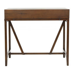 Safavieh - Marquisa Writing Desk - Simple styling is paired with functionality in the Marquisa writing desk. With a top that closes and a pull out writing table, this discreet forty-inch wide and twenty-two inch deep piece makes keeping up with the bills easy. Some assembly required.