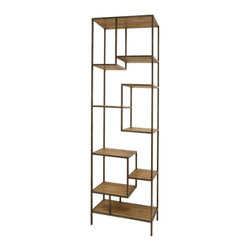 Marco Polo Imports - Henrik Large Bookcase - Balancing dramatic scale with flea marketing-find design, the Henrik bookcase offers crisp lines in a vintage patina finish. With a solid iron frame and reclaimed wood shelves, this elegant bookcase provides smart and stylish organization for any room.