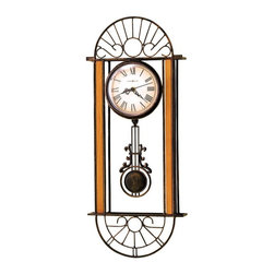 "Howard Miller - Antique Wrought Iron Wall Clock with Graduate - Here is a truly unique and beautiful antique wrought iron wall clock. The clock face features a graduated tone of color with Roman numerals, and elegant scrollwork on the hour and minute hands. The antique bronze wrought iron frame has oak finished hardwood accents. The quartz movement is battery operated. * Antique bronze finished wrought iron wall clock with oak finished hardwood accents on each side. . Graduated tone dial offers black numerals and hands and a convex crystal. . Quartz, battery operated movement. . H. 23-1/2"" (60 cm). W. 9-1/2"" (24 cm). D. 2-3/4"" (7 cm)"