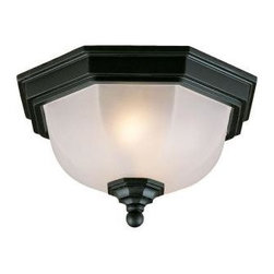 Acclaim Lighting - Flushmount Collection Ceiling-Mount 2-Light Outdoor Matte Black Light Fixture - Shop for Lighting & Fans at The Home Depot. This 2-light ceiling mount fixture is from our Flushmount collection and is made of durable cast aluminum. It will not rust and resists corrosion. This lantern features a frosted glass globe.